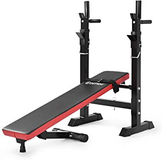 A black and red barbell weight bench on a white background