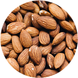 A close up of brown almonds