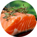 A close up shot of a raw salmon fillet