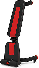 The Bowflex 5.1s weight bench sat vertically upright on the floor