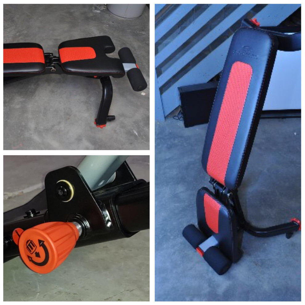 Three close up images of the Bowflex 5.1s Stowable Bench