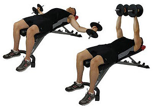 A man lying on a weight bench with a pair of dumbbells performing the dumbbell fly exercise