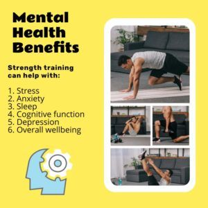 Graphics showing the mental health benefits of strength training