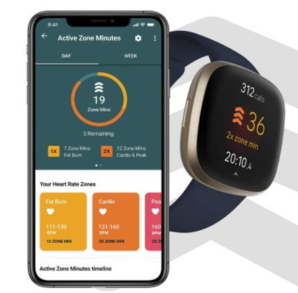 The Fitbit Versa 3 and a smartphone showing Active Zone Minutes